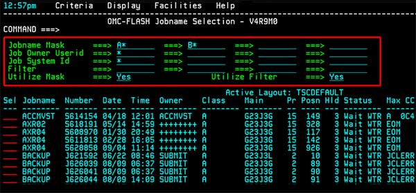 OMC-FLASH JES2 Spool Management Job Selection Screen