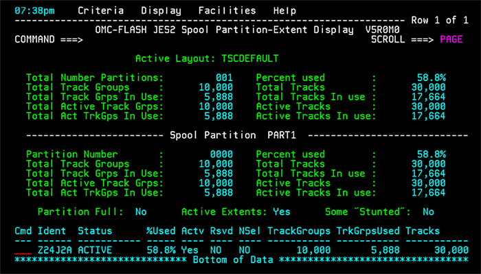 OMC-FLASH Spool Partition and Extent Display